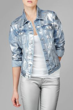 Denim Jacket In Classic Vintage Blue With Silver Foil : 7 For All Mankind - AU4091525A