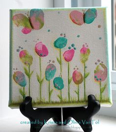 Crafty Little Pigtails: Fingerprint flowers and Butterfly thumbs...a new canvas!
