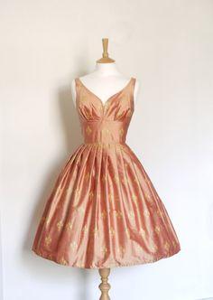 Antique Pink and Gold Fleur de Lis Pure Silk by digforvictory