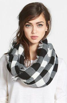 white and black buffalo plaid scarf