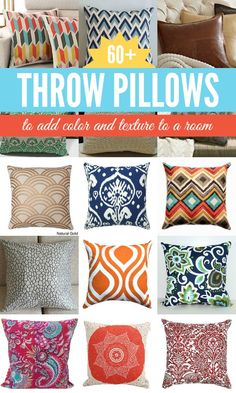 Fun and Funky Throw Pillows!  A quick and easy way to change up the decor in a room. @Remodelaholic.com #spon #pillows #decor #color