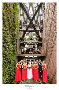 Red and yellow bridal party portrait in July at Jacknife Bridge  next to Shooters 1148 Main Avenue Cleveland, OH 44113