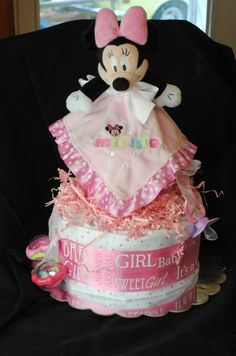 Two Tier Diaper Cake Mnnie Mouse theme  Baby by AtkinsonCreations