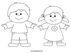 bambini-da-colorare People Coloring Pages, Cute Coloring Pages, Simple Cat Drawing, Drawing For Kids, Art Lessons For Kids, Art For Kids, Body Parts Preschool, Paper Doll Template, Grandparents Day Crafts