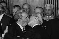 Kiss of Soviet Leader Brezhnev and East German President Honecker    Photo by Regis Bossu