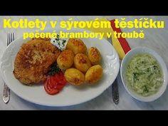 Kotlety v sýrovém těstíčku, pečené brambory v troubě Grains, Rice, Facebook, Food, Essen, Meals, Seeds, Yemek, Laughter