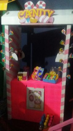 Inside decorations of Candy stall. Sign printed on A3 paper then glued onto card…