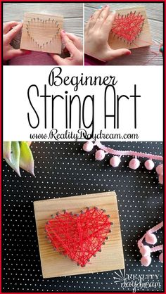 Beginner String Art Heart-Shaped Valentine's Craft - for kids or adults! {Reality Daydream} for adults Heart-shaped Beginner String Art Kids Craft {Reality Daydream} Diy Crafts For Adults, Crafts For Boys, Diy For Kids, Fun Crafts, Diy And Crafts, Craft Projects For Adults, Crafts Cheap, Diy Projects, Simple Crafts