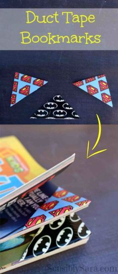 'Duct Tape Bookmarks: Easy-to-Make Craft...!' (via sensiblysara.com)
