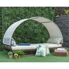 Freeport Park Eastbourne Patio Daybed with Cushions Cushion Colour: Cream Daybed Sets, Daybed Canopy, Patio Daybed, Outdoor Daybed, Outdoor Seating, Outdoor Furniture, Backyard Furniture, Zen Furniture, Rattan Daybed