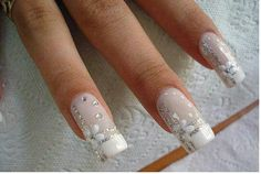White w/silver glitter... This is how I want my nails on my wedding day! Whenever I get married!!