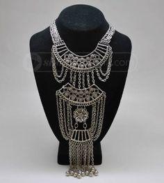 Fantastic Vintage Silver Tone Tribal Necklace