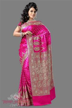 bridal-banarasi-Gajar-coloured-with-skirt-for-metro-style-design-all-over-butti-with-diamond-jardosi-work.