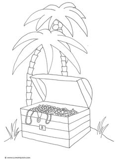 Son Treasure Island Clip Art | Pirate Treasure Chest Island Palm Trees