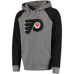 Men's Philadelphia Flyers Gray/Black Distressed Primary Logo Raglan Tri-Blend Pullover Hoodie 2