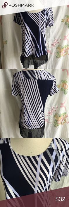 NWOT Easywear by Chico's Blue Short Sleeves Top Lightweight short sleeves too with lace ruffles at bottom. Chico's Tops Blouses