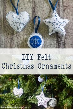 Felt Christmas Ornaments are so easy to make and do not take a lot of time. Cut your felt in the shape you wish to make your ornaments. White Christmas Ornaments, Easy Christmas Decorations, Miniature Christmas Trees, Simple Christmas, Christmas Diy, Christmas Wreaths, Felt Garland, Felt Ornaments, Felt Diy