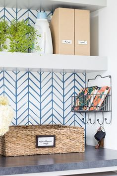 Wallpapered laundry room featuring feather wallpaper from Serena and Lily in Blue. Grey cabinets, open shelving and slate floors. Laundry Room Organization, Laundry Room Design, Laundry Rooms, Kitchen Desk Areas, Feather Wallpaper, Room Wallpaper, Blogger Home, Corner House, Slate Flooring