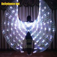 New Sale! LED isis wings belly dance free sticks bag white