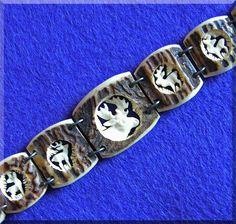 Carved Antler & Sterling Vintage Estate Bracelet