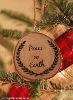 personalized wood slice christmas ornaments gifts, christmas decorations, crafts, seasonal holiday decor, Peace on Earth Wood Slice Ornament