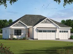 031H-0452: Craftsman Ranch House Plan Craftsman Ranch, Craftsman House Plans, Farmhouse Design, Farmhouse Style, Floor Plan Drawing, Design Basics, One Story Homes, American Houses, Kitchen Cabinets In Bathroom