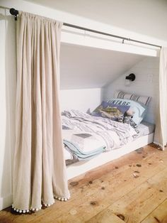 Delectable Attic remodel master suite,Attic storage tips and Attic bedroom ideas. Attic Playroom, Attic Loft, Loft Room, Closet Bedroom, Bed In Closet, Bedroom Curtains, Attic Office, Attic House, Closet Office