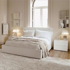 138 best Bedroom Furniture images on Pinterest   Bed furniture     Bedroom  Cute Nightstand Lighting Also Awesome White Bedroom Furniture Set  Design Idea And Hardwood Floor With Fur Area Rug  Awesome Modern Furniture  for