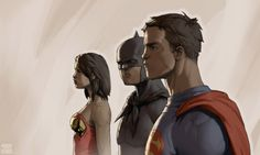 Superman, Batman & Wonder Woman    Looking very young here arn't they..!