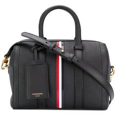 Thom Browne Small Unstructured Holdall With Red, White And Blue... (14.890 NOK) ❤ liked on Polyvore featuring bags, luggage and black