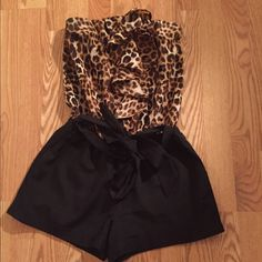 Express Leopard dressy Romper! Express Black & leopard dressy romper. Comes with original belt. (Wore once) Perfect condition. All offers considered! Express Other
