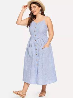 Shop Plus Button Up Pocket Front Pinstripe Cami Dress online. SHEIN offers  Plus Button Up Pocket Front Pinstripe Cami Dress   more to fit your  fashionable ... b584c5f95