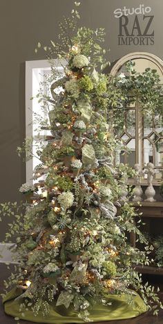 RAZ Christmas Tree in moss green and ivory.
