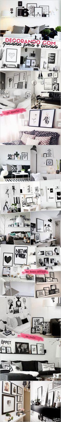 Decoração preto e branco   Black and white decor   http://cademeuchapeu.com