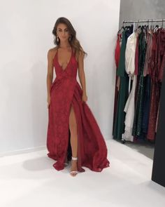 long prom dresses With Slit White Evening Gowns halter burgundy lace long prom dress with deep v neck, 2019 burgundy prom dress with backless, formal evening dress Red Lace Prom Dress, A Line Prom Dresses, Prom Party Dresses, Ball Dresses, Dress Prom, White Evening Gowns, Formal Evening Dresses, Formal Gowns, Dress Formal