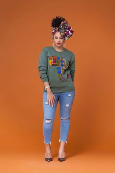 Olive Green African Print Sweatshirt|Grass-fields| Perfect for keeping you warm, snug and most importantly stylish