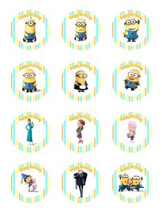 Cupcake Wrapper Template PDF | Make I Share: Despicable Me Party - Cupcake Toppers