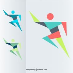Geometric Background Vectors, Photos and PSD files Man Vector, Free Vector Graphics, Gymnastics Logo, Branding Design, Logo Design, Sports Graphic Design, Typo Logo, Running Man, Geometric Background