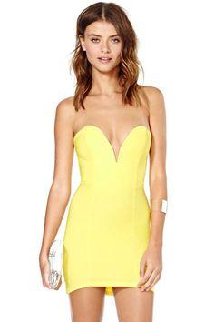 Nasty Gal Helix Dress - Yellow