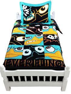 Disney PHINEAS and FERB NEVER FLINCH Boys Black Full Size Comforter Set+Drapes