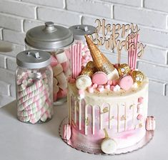 Parties should be pretty. Macaron Cake, Macarons, Cupcake Cakes, Cupcakes, Buttercream Decorating, Buttercream Cake, Cake Decorating, Drip Cakes, Party Treats