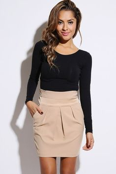 style khaki satin inset pleated high waist pencil skirt