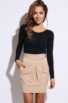 style khaki satin inset pleated high waist pencil skirt