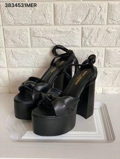 Ysl Saint Laurent woman platforms block thick heels sandals leather black Saint Laurent Shoes, Thick Heels, Ysl, Platforms, Leather Sandals, Me Too Shoes, Woman, Stuff To Buy, Black