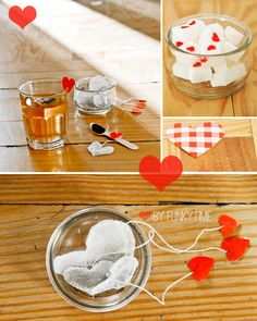 Valentines idea: heart shaped tea bags with sugar cubes that have red hearts on them.
