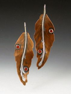 Earrings | Michele Grady.  Copper, sterling silver and carnelians.