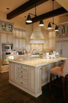"""25 Home Plans with Dream Kitchen Designs  French Country Home Plan 2459 - The Terrebonne    <a href=""""http://houseplans.co/house-plans/2459/"""" title=""""The Terrebonne House Plan 2459"""">The Terrebonne House Plan 2459</a>:Featured in the Street of Dreams, the Terrebonne's kitchen offers both modern energy efficiency and rustic charm."""