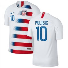 Christian Pulisic  10 USMNT USA Home 2018-2019 SOCCER Jersey â   White 0a9191ace
