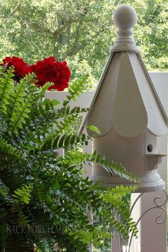 Summer southern porch with red geraniums and birdhouses.