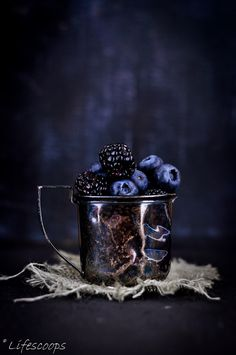 "Midnight Garden:  #Blackberries and #Blueberries from the ""Insanely Easy Magic Custard Pie"" post."